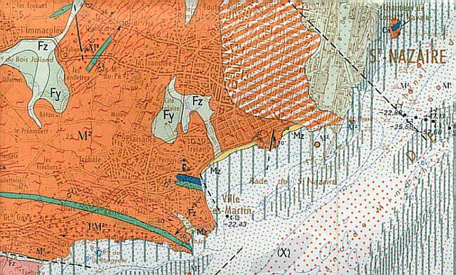 Extrait de la carte géologique de St-Nazaire au 1/50.000