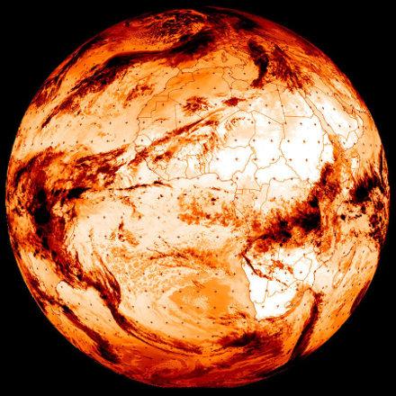 La Terre vue par Météosat le 27 janvier 2020 à 10,8μm (canal dans la fenêtre infrarouge atmosphérique)