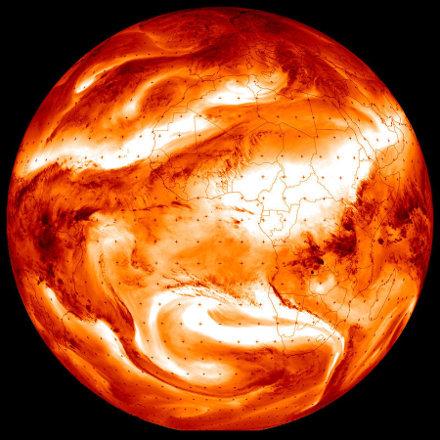La Terre vue par Météosat le 27 janvier 2020 à 6,2μm (canal dans la bande d'absorption/émission de la vapeur d'eau)