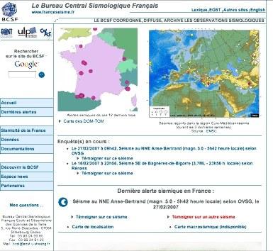 Page d'accueil du site internet du BCSF (à la date du 26 mars 2007)