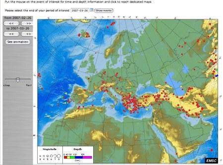 Exemple d'utilisation de la carte interactive de sismicité de l'EMSC-CSEM