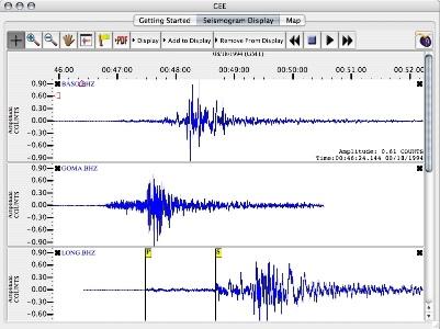 Fenêtre de visualisation des sismogrammes du logiciel GEE