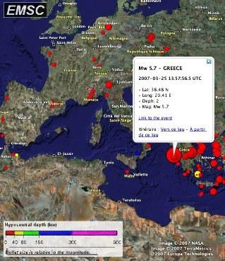 Affichage dans Google Earth de la sismicité enregistrée par l'EMSC