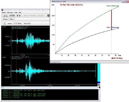 Exemple de pointé des ondes P (trait vert) et S (trait rouge) dans SeisGram2K (École)