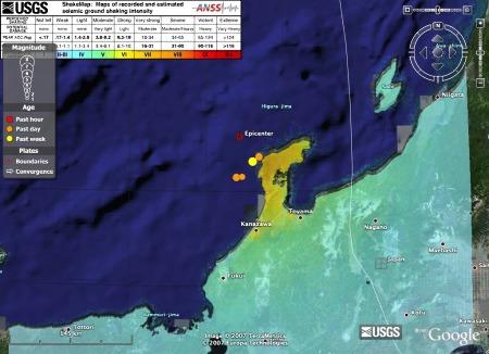 Importation directe dans Google Earth de la carte des intensités (ShakeMap) proposée par l'USGS