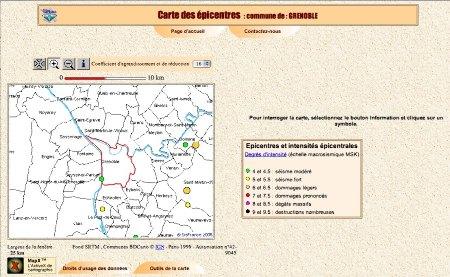 Recherche de sismicité sur une commune avec SisFrance, exemple de Grenoble