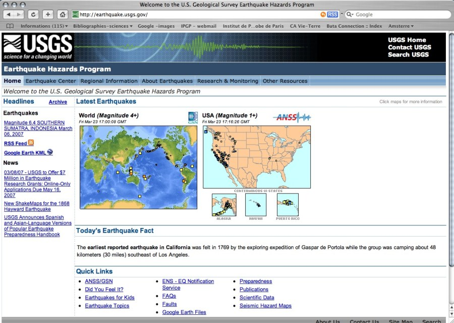 Page d'accueil de la section du site de l'US Geological Survey dédié à la surveillance sismique