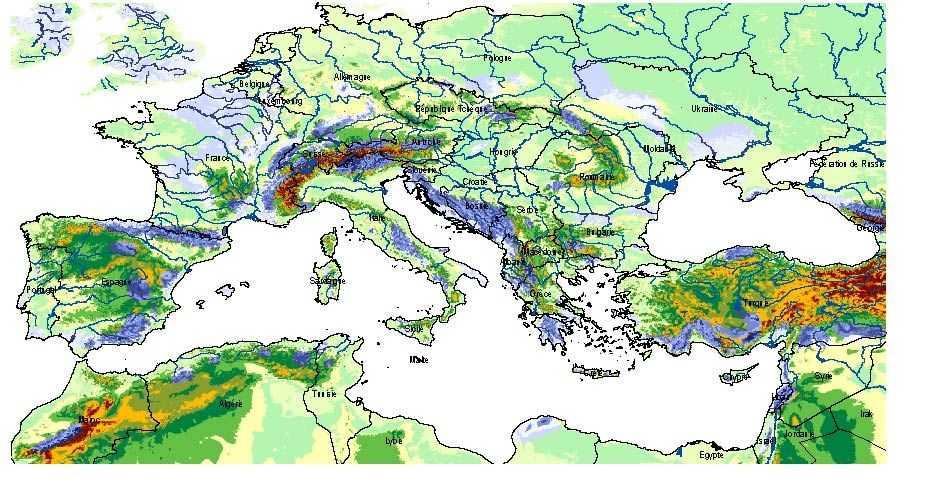 Carte des affleurements des ensembles karstiques (en bleu) autour de la Méditerranée