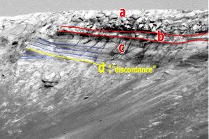 Vue de détail d'un flanc interne du cratère Endurance