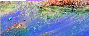 La falaise Burn Clift sur le bord du cratère Endurance