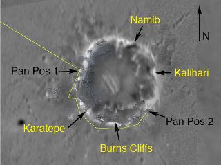 Trajet (en jaune) effectué par Opportunity le 2 juin 2004 (sol 148), noms des différents sites