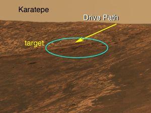 Trajet prévu pour la descente dans le cratère Endurance et première cible