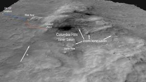 Vue satellite des Columbia Hills, à 2km du site d'atterrissage de Spirit