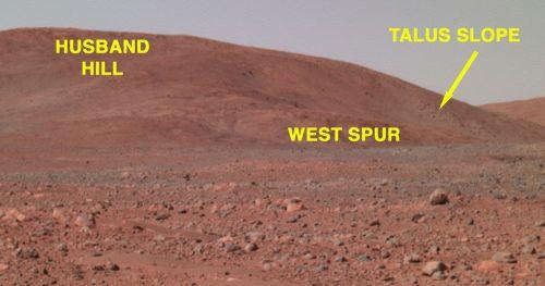 Localisation de West Spur, premier objectif de Spirit, sur les collines dénommées Columbia Hills