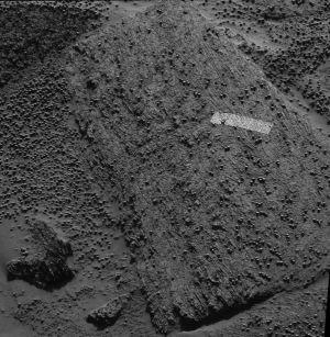 Pyrrho Mania, rocher au bord du cratère Endurance