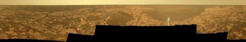 Mars: panorama sur 360° constitué d'une mosaïque de 276 photos prises par Opportunity du 21 au 24 novembre 2008