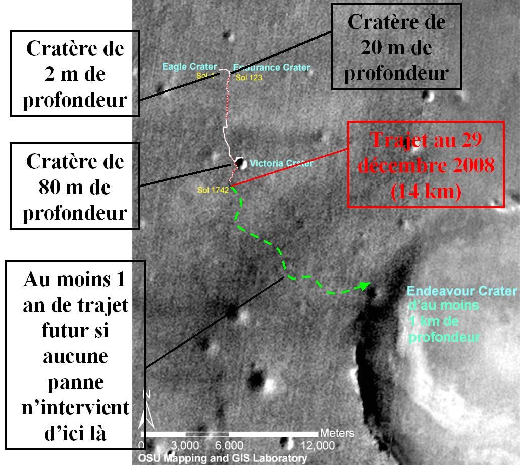 Mars: trajet d'Opportunity de janvier 2004 à décembre 2008 (en rouge et blanc) et trajet restant à faire (en vert) pour atteindre le cratère Endeavour