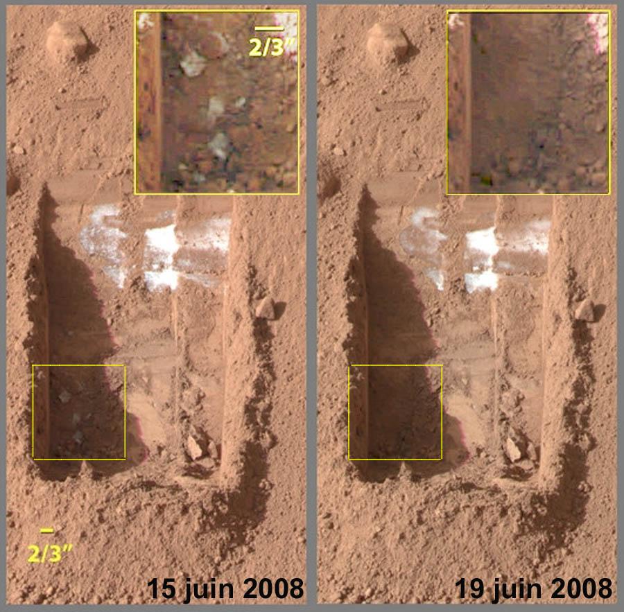 Sublimation de micro-blocs de glace entre le 15 et le 19 juin 2008 sur Mars, image Phoenix