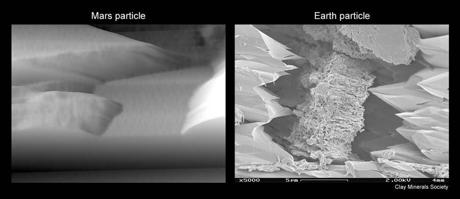 Micro-photographie d'une particule du sol martien (à gauche) comparée à une particule argileuse terrestre (à droite)