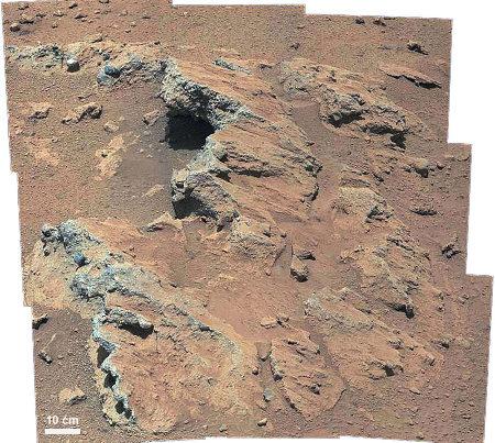 Détail d'une des couches photographiées près du site d'atterrissage de Curiosity