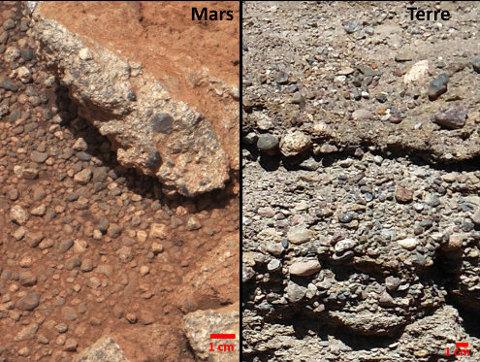 Zoom rapproché du conglomérat martien de la figure précédente, et d'un équivalent terrestre, les deux roches étant faites d'une accumulation de galets