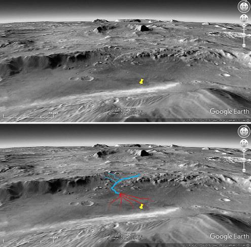 Images brute et interprétée du site d'atterrissage de Curiosity (punaise jaune) vue depuis l'orbite