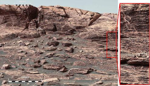 Exemple de strates très fines au pied de Vera Ridge, caractéristiques d'un milieu très calme, avec une très faible sédimentation, et sans doute assez loin du rivage
