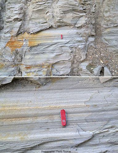 Deux zooms sur des strates très fines et très régulières de sédiments déposées au Miocène (7Ma) dans un ancien lac volcanique ardéchois, une analogie terrestre de la figure précédente