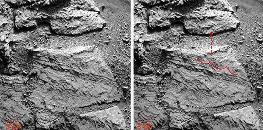 Images brute et annotée d'un affleurement où un voit que certaines couches (F) sont comme festonnées