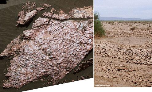 Détail de la dalle rocheuse du centre de la figure précédente (à gauche) et équivalent terrestre (à droite)