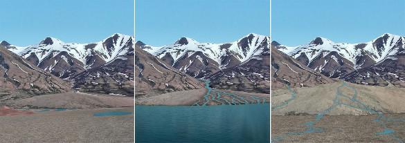 Images dessinées par la NASA reconstituant ce que pouvaient être différents paysages à différentes périodes dans la région explorée par Curiosity
