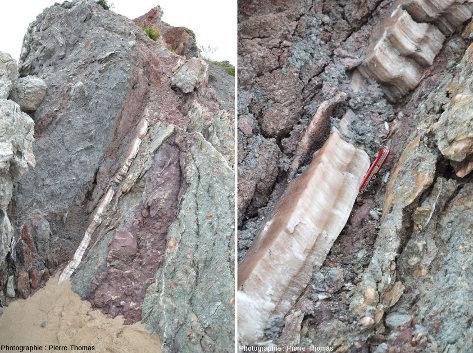 Vues d'ensemble et de détail sur un filon de gypse du Pays basque, équivalent terrestre des deux photographies précédentes