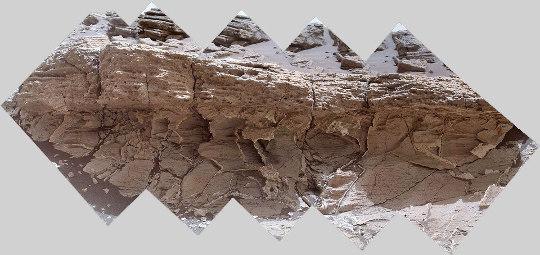 Plan rapproché sur le contact entre les deux unités de terrains martiens visibles sur la photo précédente