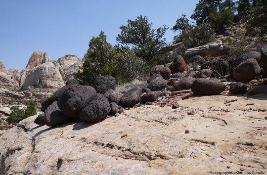 """Détail de rochers noirs (black boulders) photographiés au cœur du Parc national de Capitol Reef (lieu dit """"Frying Pan"""")"""
