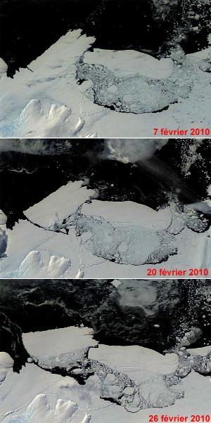 """Montage de 3 images satellite (en """"visible"""") prises en février 2010 montrant le choc entre la langue glaciaire flottante de Mertz (à gauche) et l'iceberg B-9B (au centre droit)"""