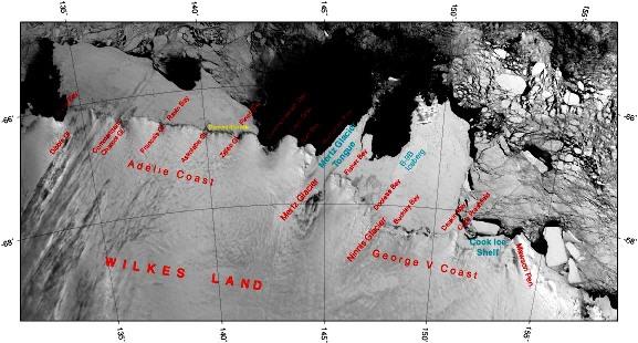 Image MODIS (visible) de la région du glacier de Mertz prise en 2001