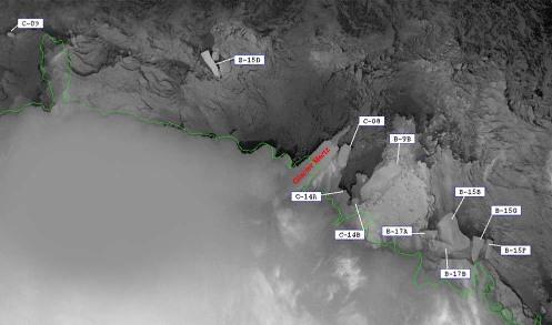 Image satellite radar de la région du glacier de Mertz prise en 2002