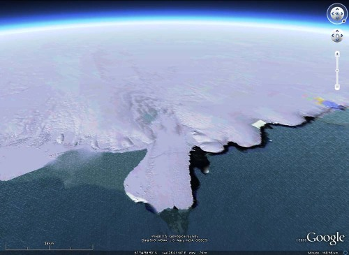 Vue Google Earth (mars 2009) de la plate-forme/langue terminale de Mertz