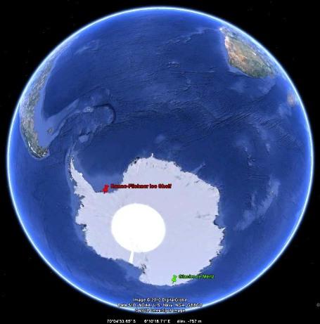 Localisation du glacier de Mertz (fig. 1 à 8) et de la plateforme de Ronne-Filchner (fig. 15 à 20)