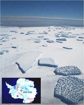 Photographie aérienne, prise en novembre 2007, de petits fragments détachés de la plateforme de Mertz