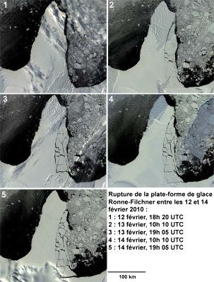 """Montage d'images (en """"visible"""") prises du 12 au 14 février 2010 montrant la rupture partielle d'une """"péninsule"""" de la plateforme Ronne-Filchner"""