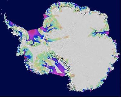 Carte des régions antarctiques perdant de la glace publiée en 2008