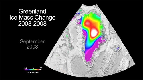 Variation de la quantité de glace groenlandaise sur la période 2003-2008