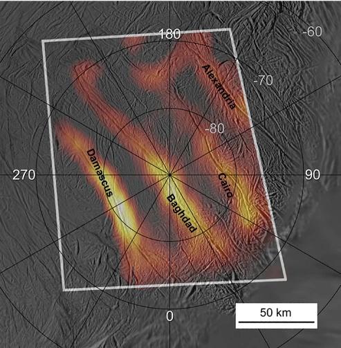 Carte thermique du pôle Sud d'Encelade