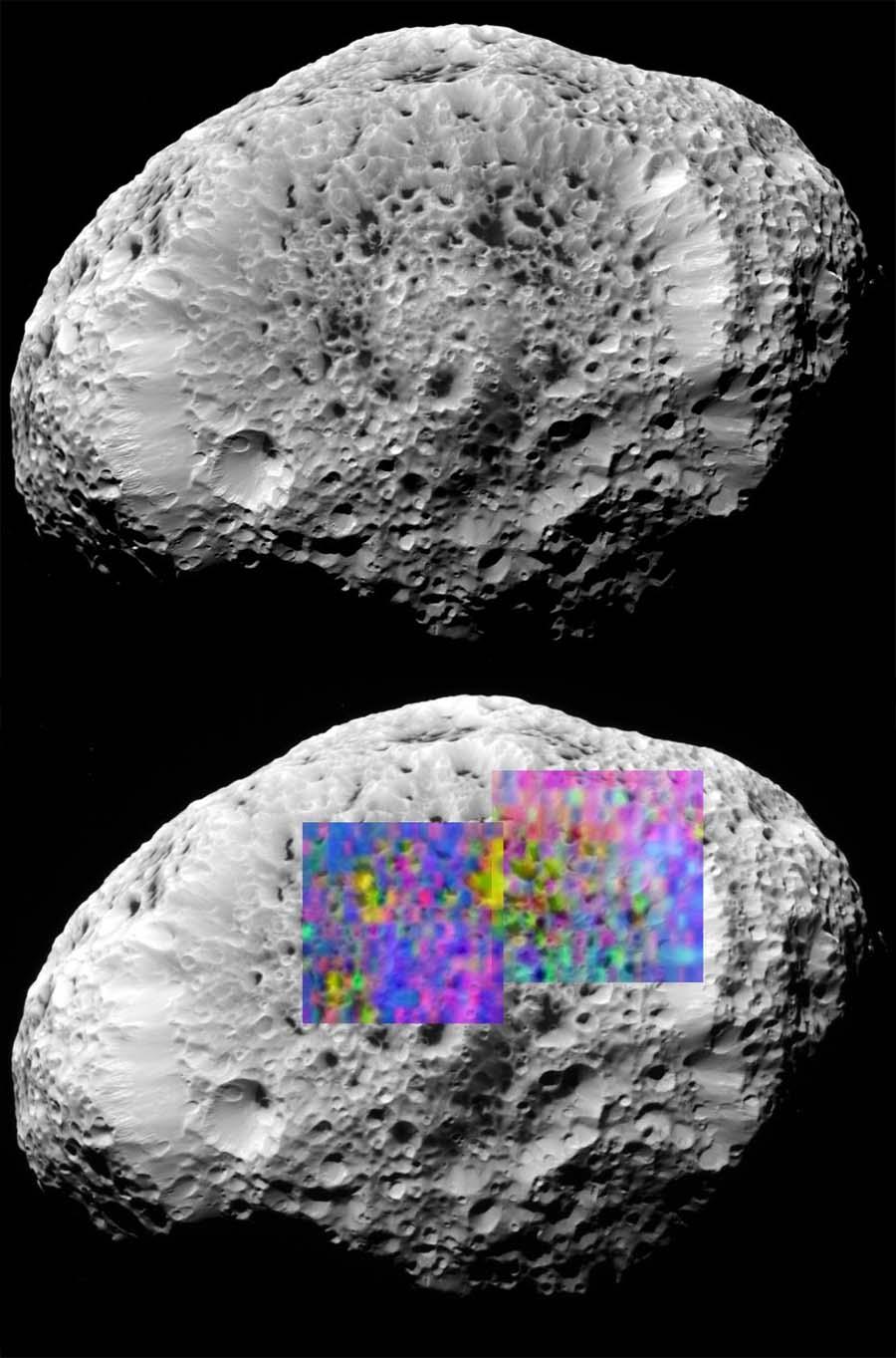 Image classique et image en fausses couleurs d'Hypérion, satellite de Saturne