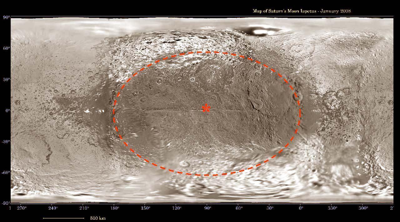 État en janvier 2008 de la carte topographique de Japet, satellite de Saturne