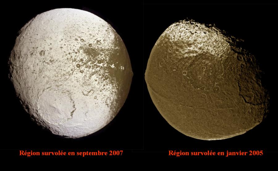 Montage de deux images des survols haute résolution de Japet, satellite de Saturne