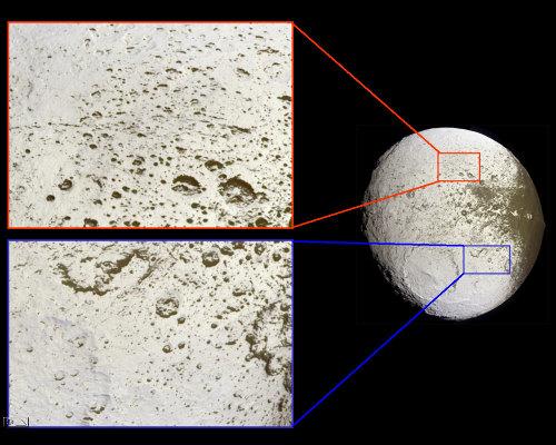 Dissymétrie des dépôts sombres dans les cratères à la surface de Japet, satellite de Saturne