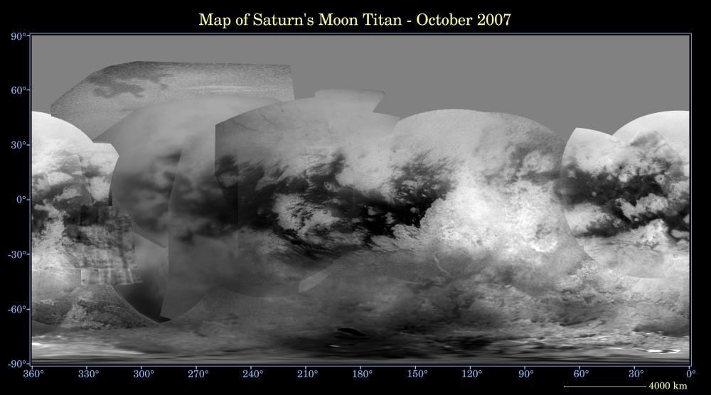 Carte globale de Titan, satellite de Saturne