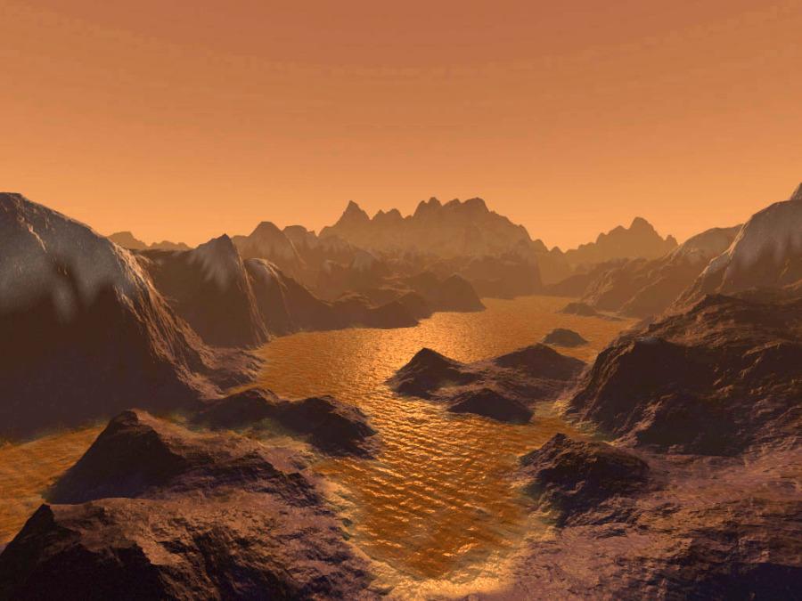 Vue d'artiste d'un bord de lac sur Titan, avec côte découpée, archipel d'îles…